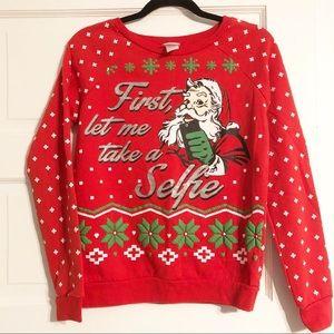 Glittery Selfie Santa Red Sweatshirt - Size Lg